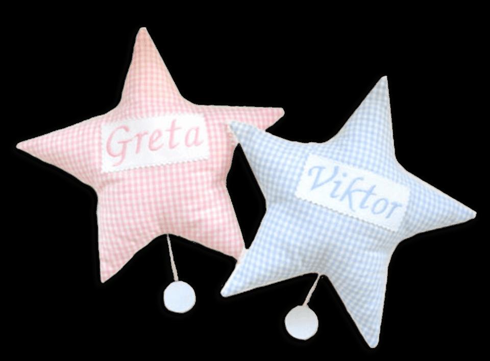Stern-Spieluhren mit in rosa und hellblau mit Namensstickerei