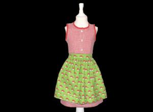 Süßes Kinderdirndl in rot/grün mit Fliegenpilz-Schürze