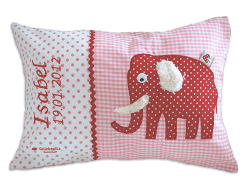 Namenskissen mit Elefant-Applikation in rot auf rosa Vichykaro und weichen Details