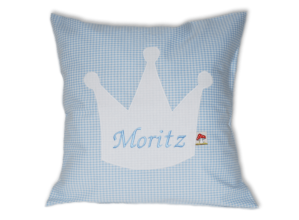 Namenskissen mit Krone auf hellblauem Vichykaro-Muster