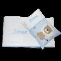 Schlafset mit Löwen-Applikation und Namensstickerei in hellblau