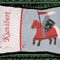Namenskissen mit Ritter - Applikation in rot auf grau