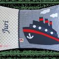 Namenskissen mit Schiff - Applikation für echte Seemänner