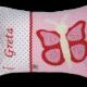 Personalisierbares Namenskissen mit Schmetterling-Applikation