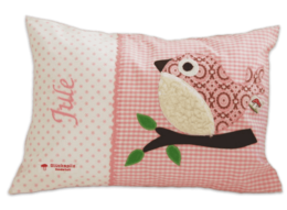 Personalisierbares Namenskissen mit Vogel - Applikation und Stickerei auf rosa