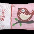 Personalisierbares Namenskissen mit Vogel - Applikation und Stickerei auf rosarot
