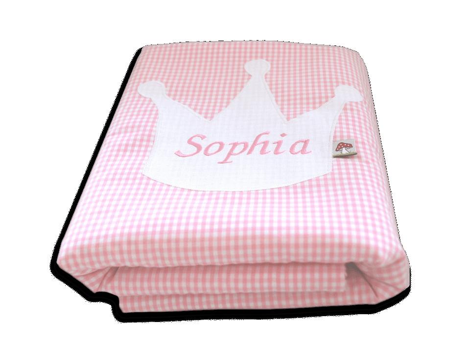 personalisierbare baby kuscheldecke mit kronen applikation gl ckspilz shop. Black Bedroom Furniture Sets. Home Design Ideas