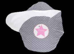 Einschlagdecke für Babys mit applizierten Stern und Namensstickerei
