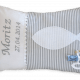 Kissen mit Namensstickerei und Datum der heiligen Kommunion, sowie appliziertem Fisch