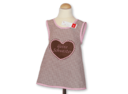 Schickes Schürzenkleid kleine Schwester in braun mit Lebkuchenherz-Applikation und Vichykaro-Details