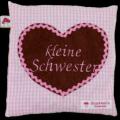 """Waermekissen rosa mit applizierten Herz und Stickerei """"kleine Schwester"""""""