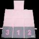 Ausgeklappte Windeltasche in rosa und grau mit verschieden gemusterten Stoffen