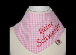 """Rosa Halstuch mit Stickerei """"kleine Schwester"""""""