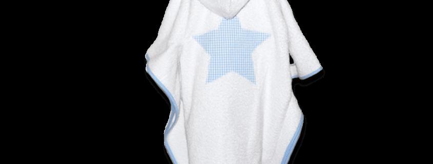 Kinder-Badecape aus weißem Frottee mit hellblauen Vichykaro Details und großer Stern-Applikation auf dem Rücken