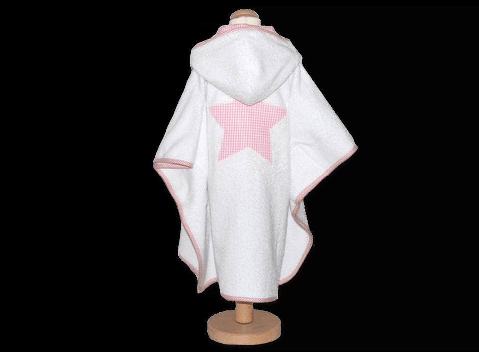 Kinder-Badecape aus weißem Frottee mit rosa Vichykaro Details und großer Stern-Applikation auf dem Rücken
