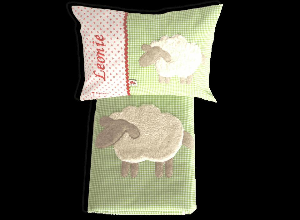 Komplettes Schlaf-Set für Kinder mit appliziertem Schaf und Namensstickerei