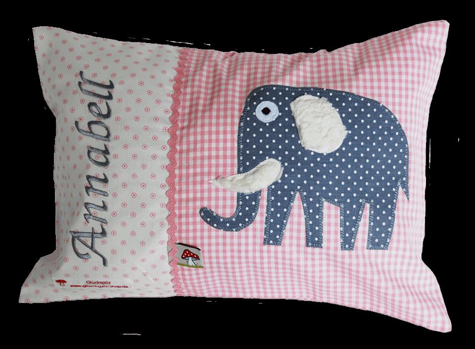 Namenskissen mit Elefant-Applikation in blau auf rosa Vichykaro und weichen Details
