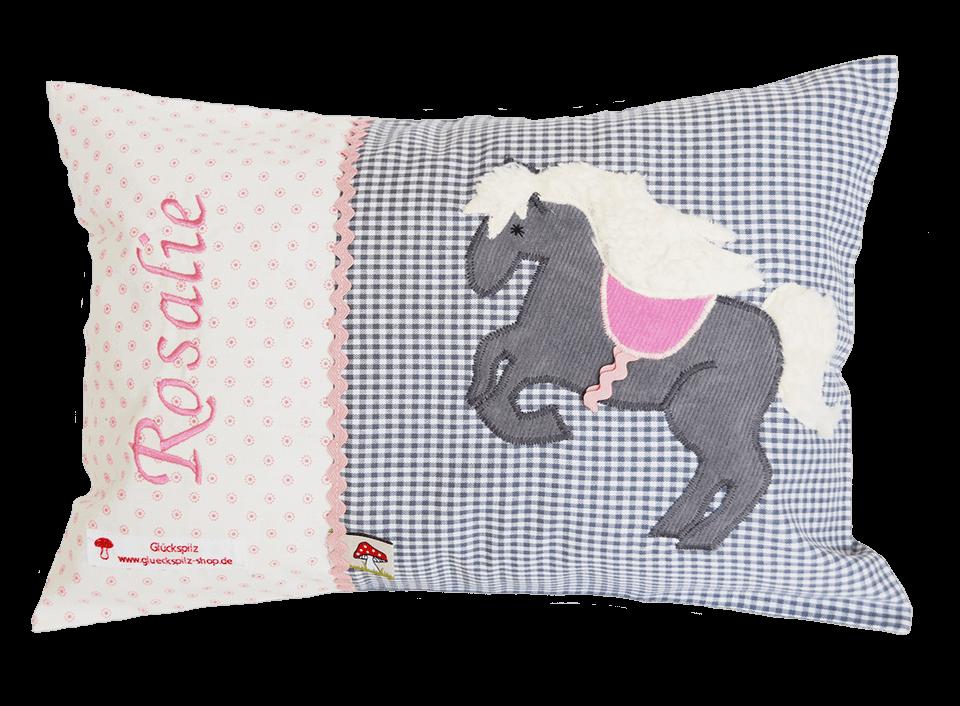 Namenskissen mit Pferd - Applikation in grau mit plüschigem Schweif und Mähne sowie pinken Details
