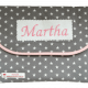 Geräumige Wickeltasche mit Namensstickerei aus Vichy, Frottee und Vlies