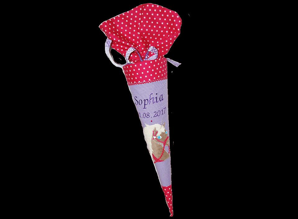 Große Schultüte mit aufwendig appliziertem Einhorn in rot und lila