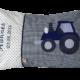 Personalisierbares Namenskissen mit Traktor und Namensstickerei auf dunkelblau