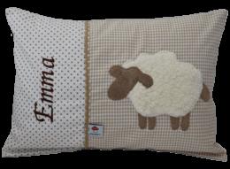Namenkissen Schaf beige mit gesticktem Namen