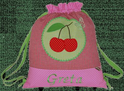 Rosa Turnbeutel mit Kirsch-Applikation auf rotem und grünem Vichykaro.