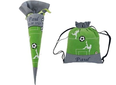 Hier gelangen Sie zu unserem Schulset bestehend aus großer Schultüte & Turnbeutel Fußball