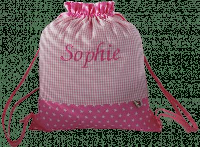 Unser rosa Turnbeutel besteht aus einem Muster-Mix aus Sternen und Vichykaro.