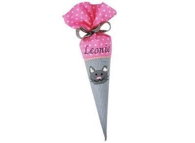 Schultüte für Geschwister mit Katze rosa