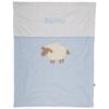Baby Kuscheldecke mit Schaf hellblau und gesticktem Namen