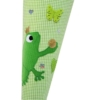 Schultüte Froschkönig appliziert und gesticktem Namen in grün und rot Detailaufnahme