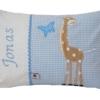 Namenskissen hellblau mit Giraffe ganz