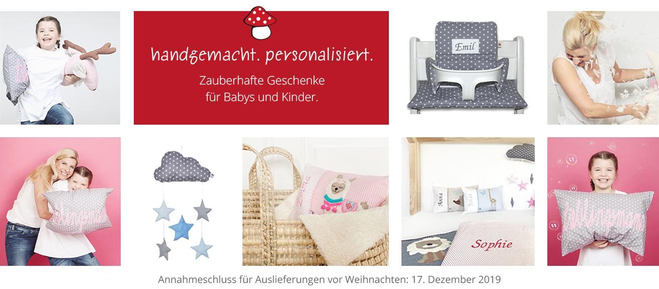 Personalisierte Baby- und Kindersachen von Glückspilz