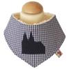 Halstuch für Babys und Kleinkinder mit flauschiger Innneseite aus dunkelblauem Vichykarostoff mit appliziertem Dom