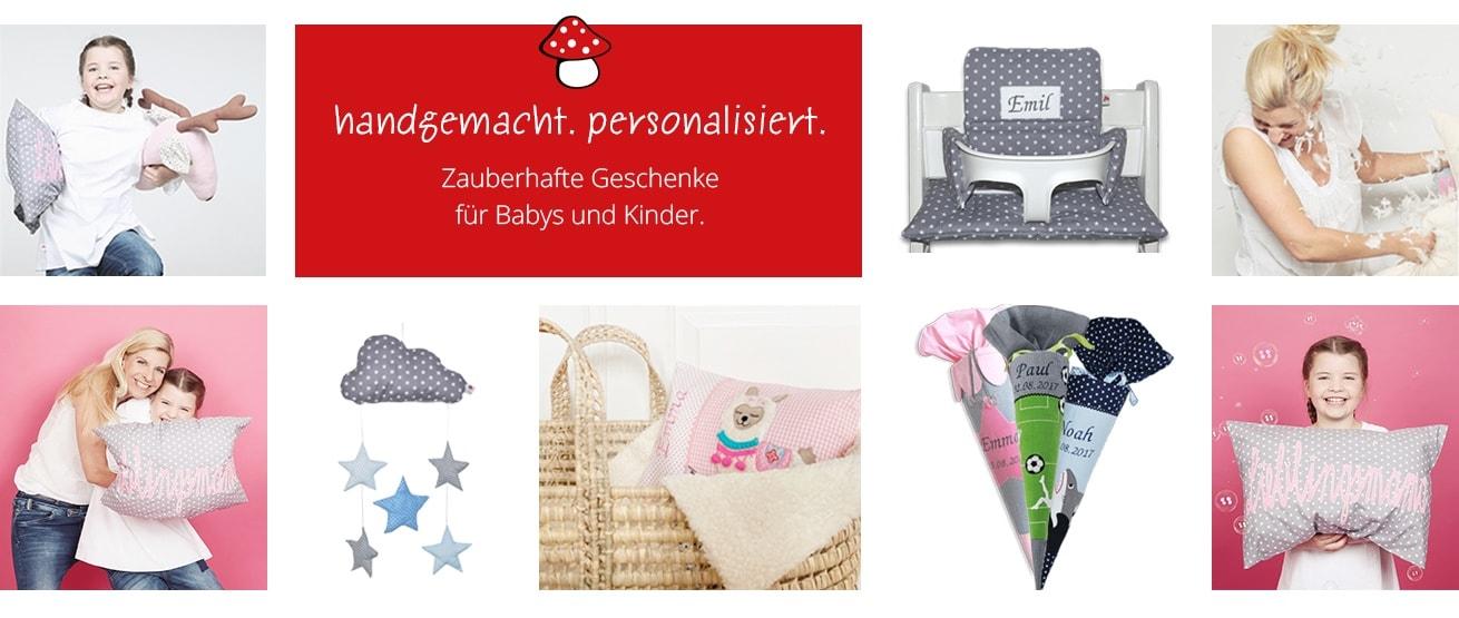 Glückspilz Shop: personalisierte Kindersachen