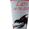 Schultüte mit Drache in grau mit schwarzem Drachen und roter Stickerei
