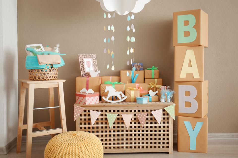 verpackte Babygeschenke