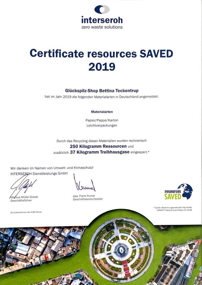 Interseoh Zertifikat 2019