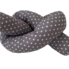 Bettschlange für Babybett in grau mit Sternen geknotet