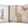 Namenskissen Giraffe in beige fuer Babys