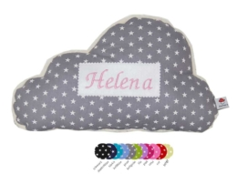 Wolkenkissen aus grauem Sternenstoff mit gesticktem Namen